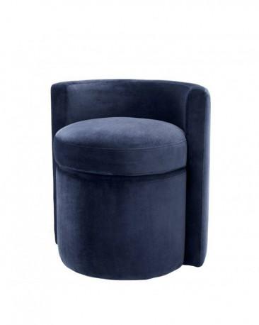 Tabouret Arc Velours Bleu Nuit