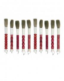 Pinceaux Corne et Pierre Couleur Cerise - H 35 à 40 cm