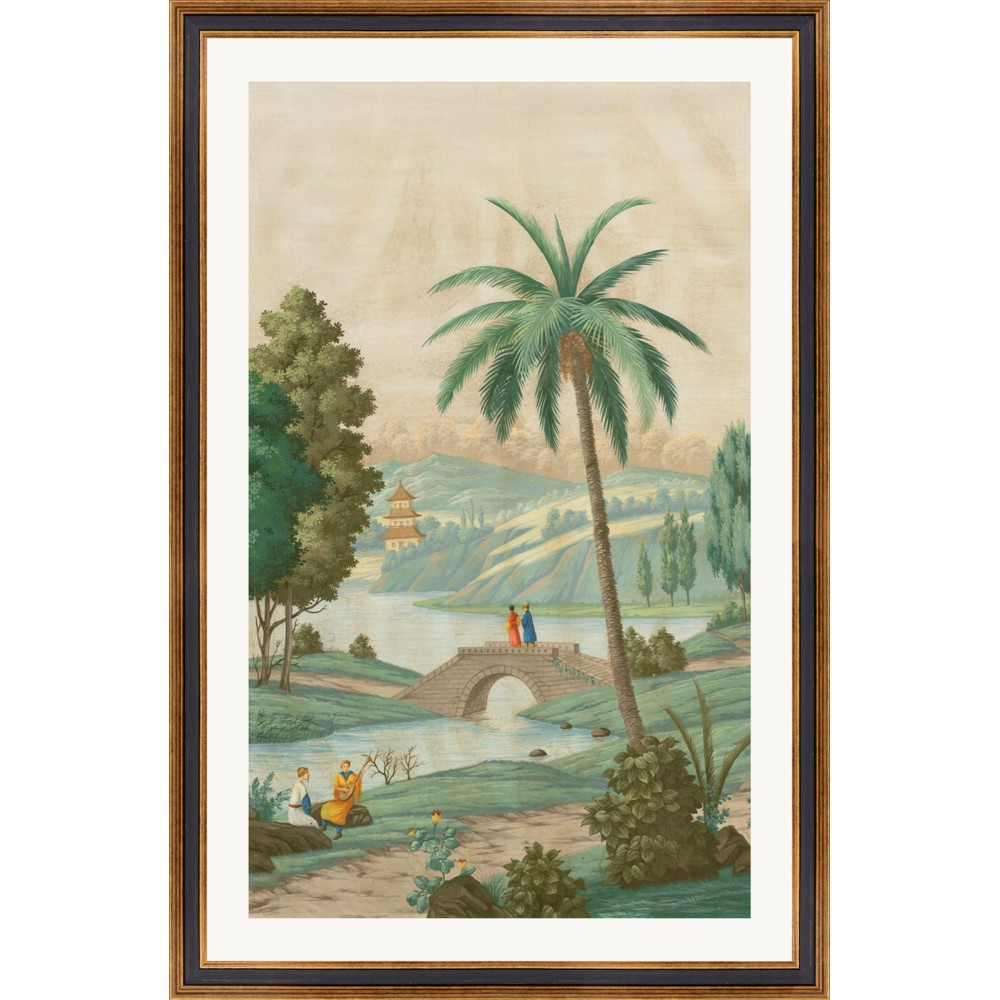 Wonderful engravings of landscapes and Palm trees. Framing and engravings entirely realized by hands.