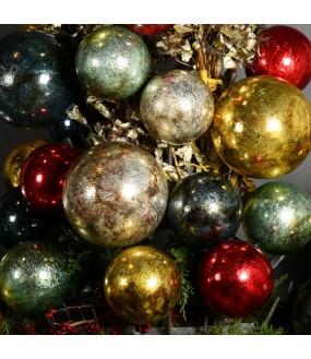 Boules de Noël en Verre Craquelé, Style XIXeme