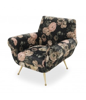 Superb lounge chair in floral cotton velvet and brass compass base.