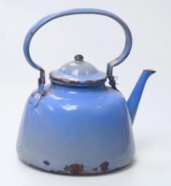 Grande bouilloire vintage bleue