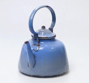 Big vintage enameled kettle