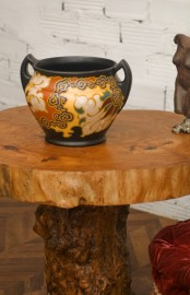 1930-50s earthenware hand painted pot
