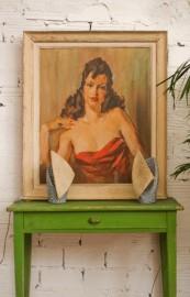 1940's portrait of woman, oil on canvas