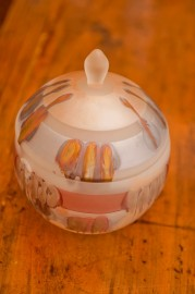 Frosted glass candy box, 70s