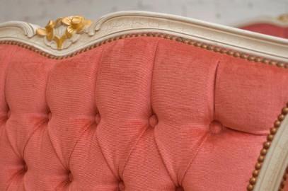 1950 upholstered bed, Louis XV style