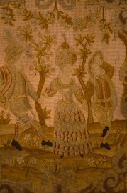 Tableau tapisserie, scène galante