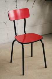 Chaises bistrot rouge années 60
