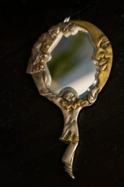"""Miroir à main en étain """"Pierrot la Lune"""""""