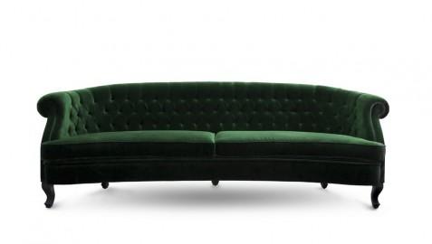 Sofa Green Velvet Bette, Made To Measure